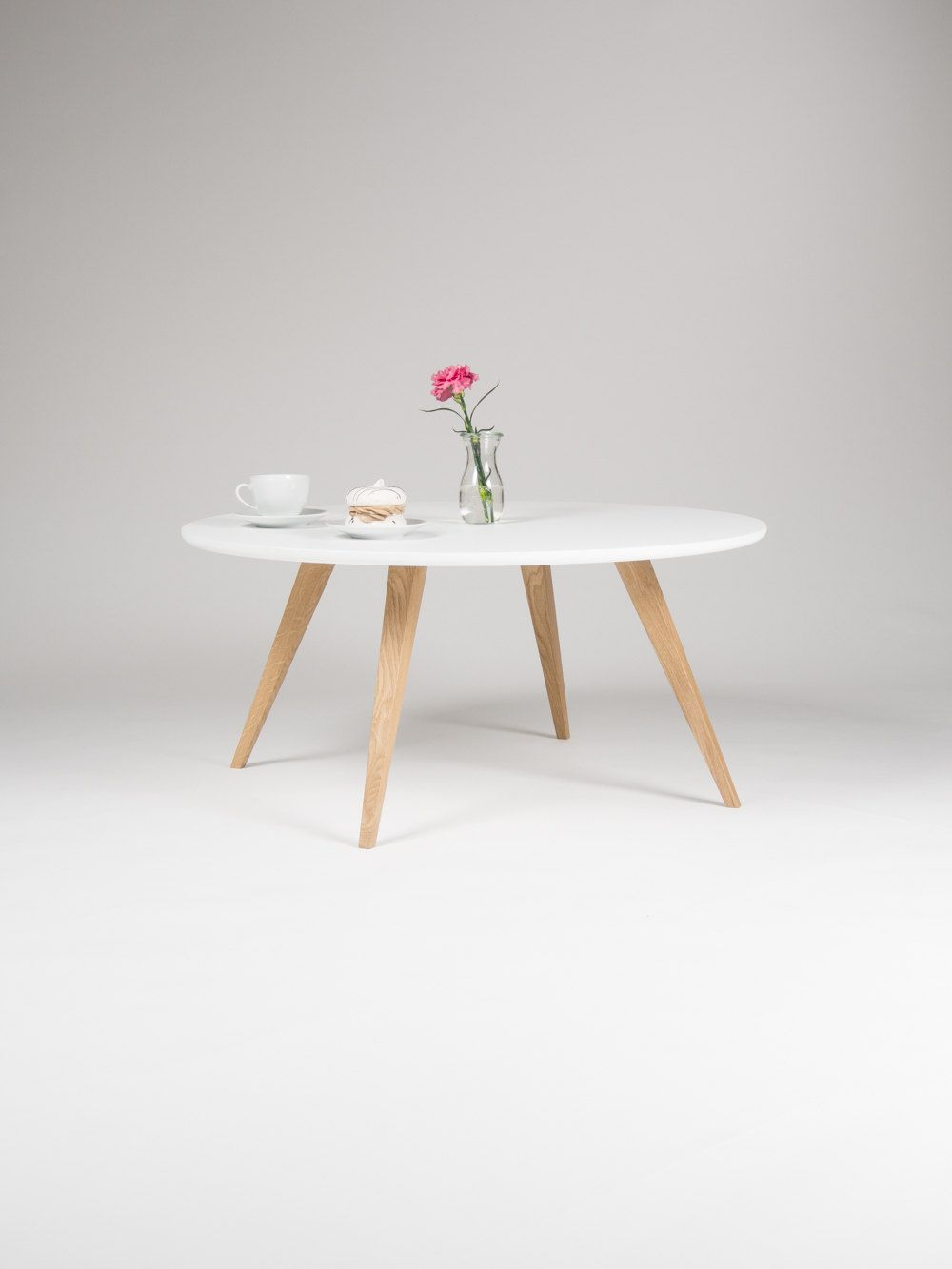 White Round Coffee Table With Solid Oak Legs Scandinavian Design