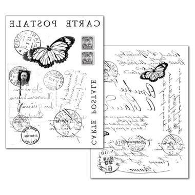 Conf. 2 Fogli Carta Transfer Carte Postale