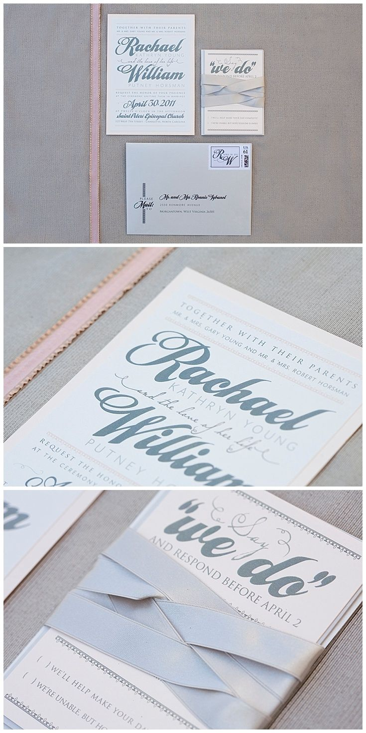 Rachel + William: Vintage Inspired Blush and Silver Invitations ...