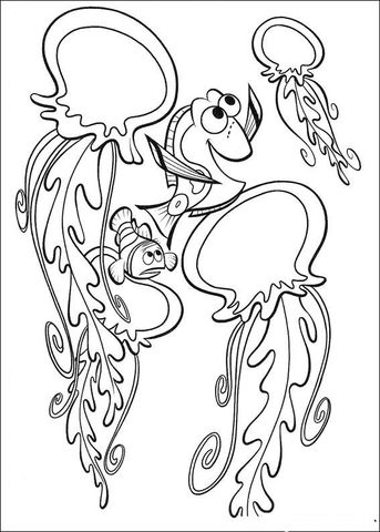 Dory Is Playing With Dangerous Jellyfish Coloring Page