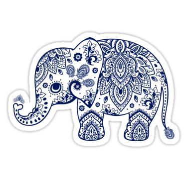 Blue Floral Elephant Illustration' Sticker by artonwear