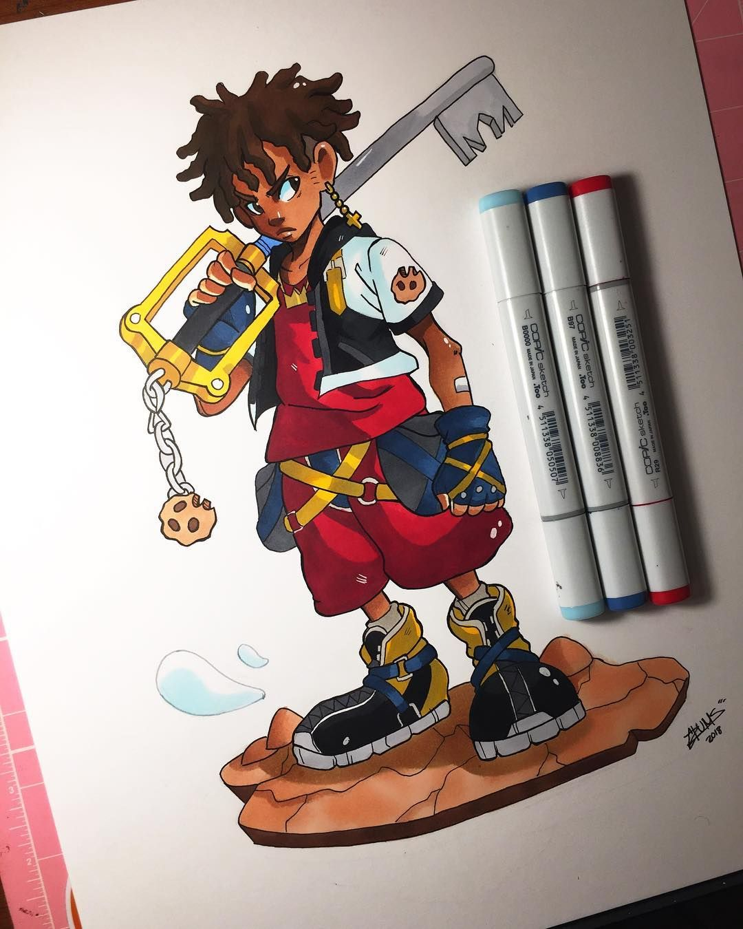 Kingdom Heart In A Alternate Universe Sora Has The Keyblade With The Cookie Hanging From It Finally Kingdom Hea Kingdom Hearts Character Design Black Artists