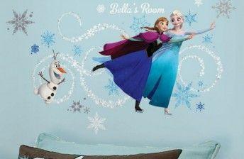 Interieur Ice Blauw : Frozen muurstickers van de film frozen. anna elsa en olaf de