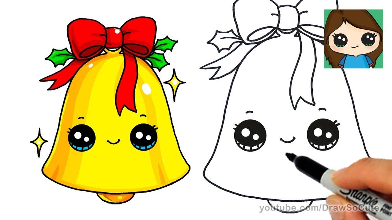 How To Draw A Christmas Bell Easy And Cute Cute Easy Drawings Xmas Drawing Easy Drawings