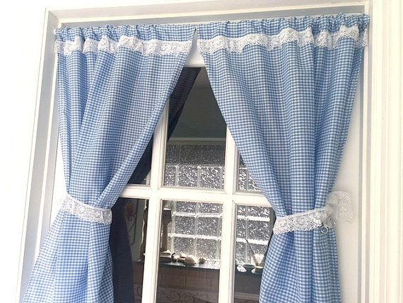 Blue Gingham Curtain Panels And Lace Tie Backs Rod By RobinsLane