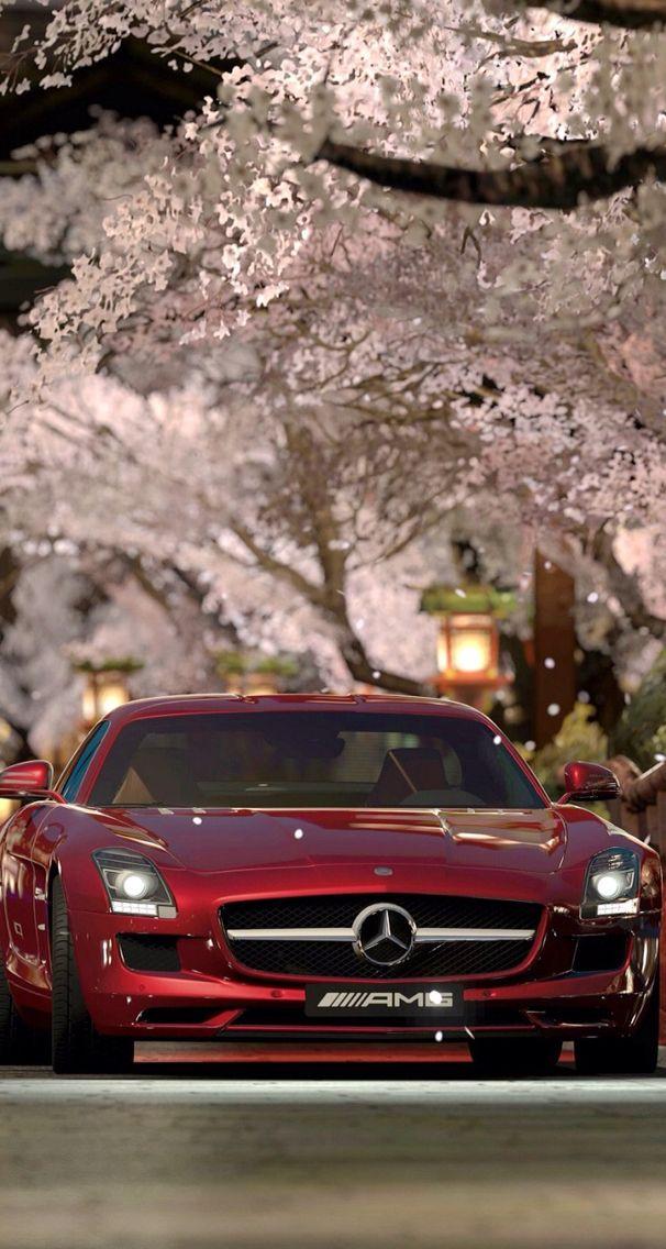 Red Mercedes Benz Beneath A Cherry Blossom Tree Mercedes