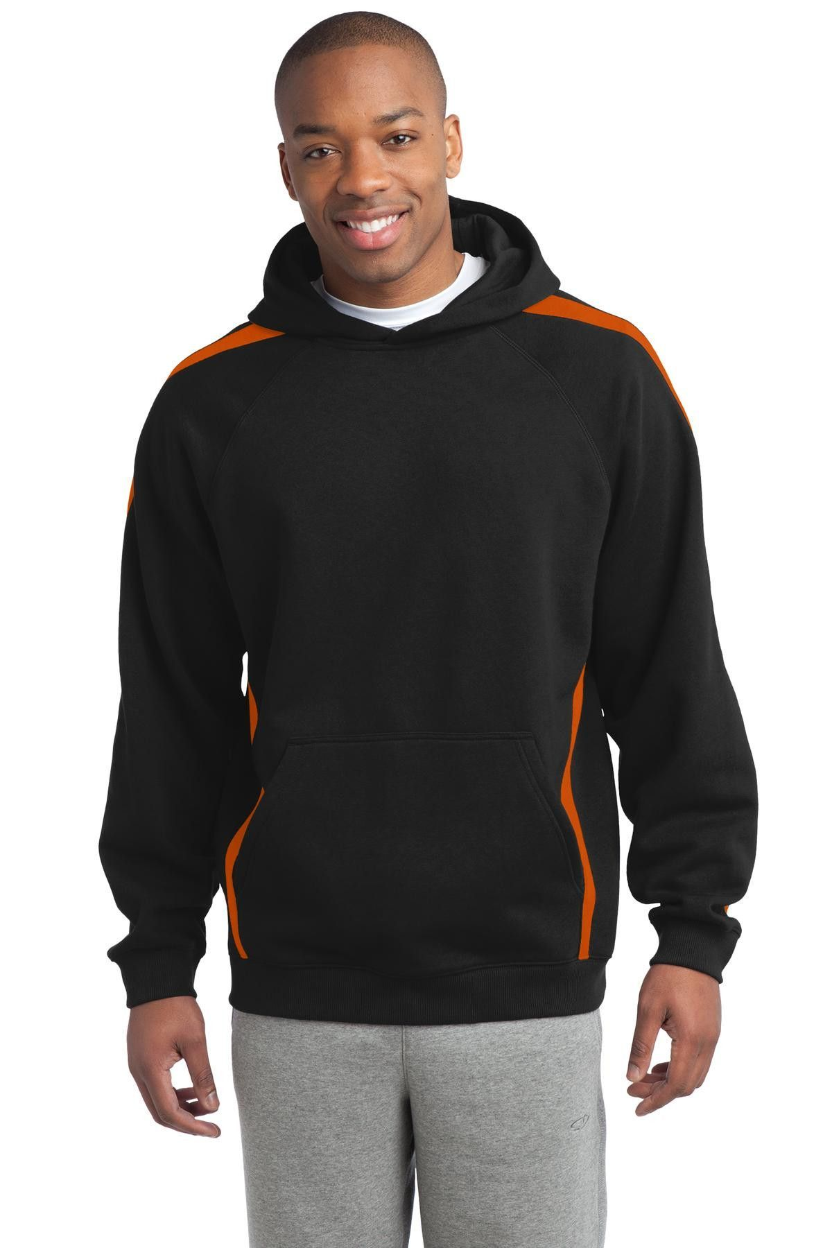 Sport-Tek Sleeve Stripe Pullover Hooded Sweatshirt ST265 Black ...