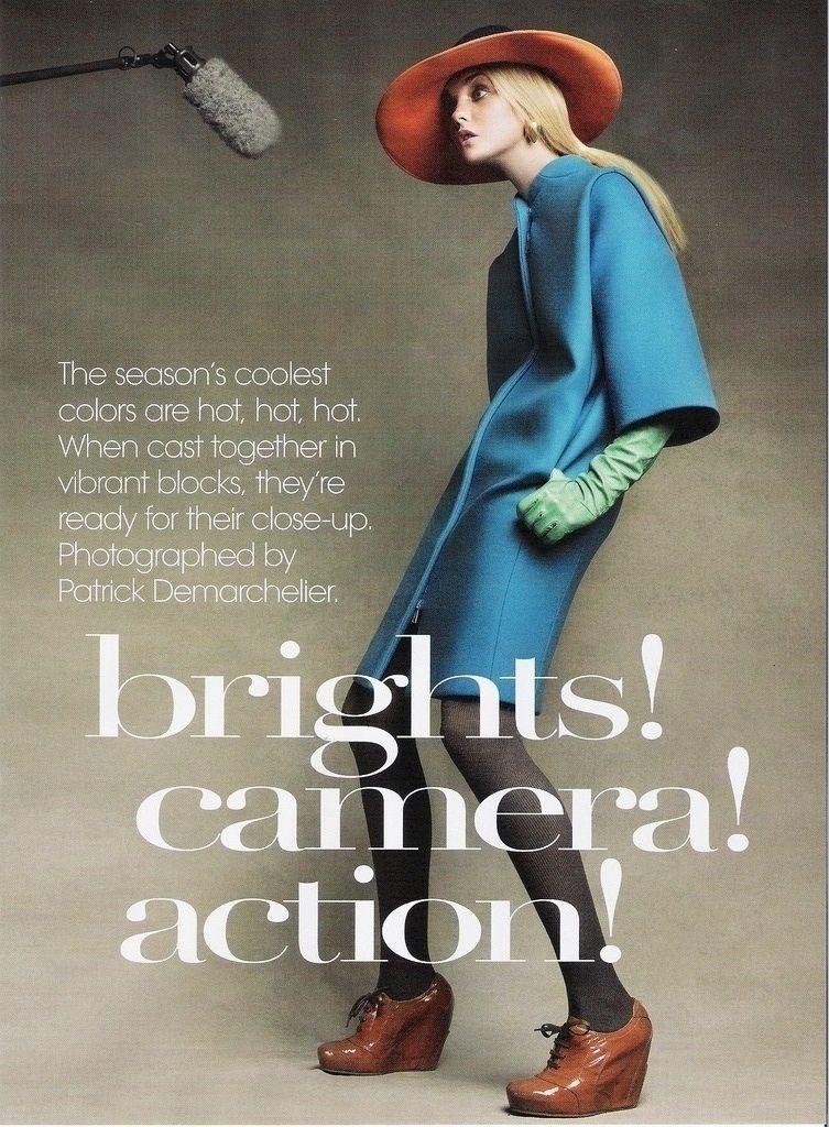 Patrick Demarchelier – Brights! Camera! Action! Caroline Trentini for Vogue US September 2007