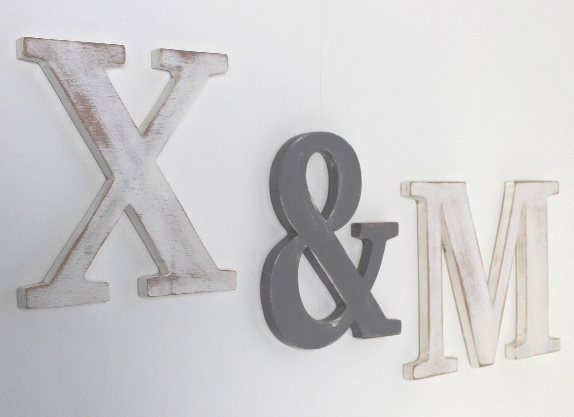 Grandes Lettres En Bois M X Blanc Et Gris Patin Accrocher