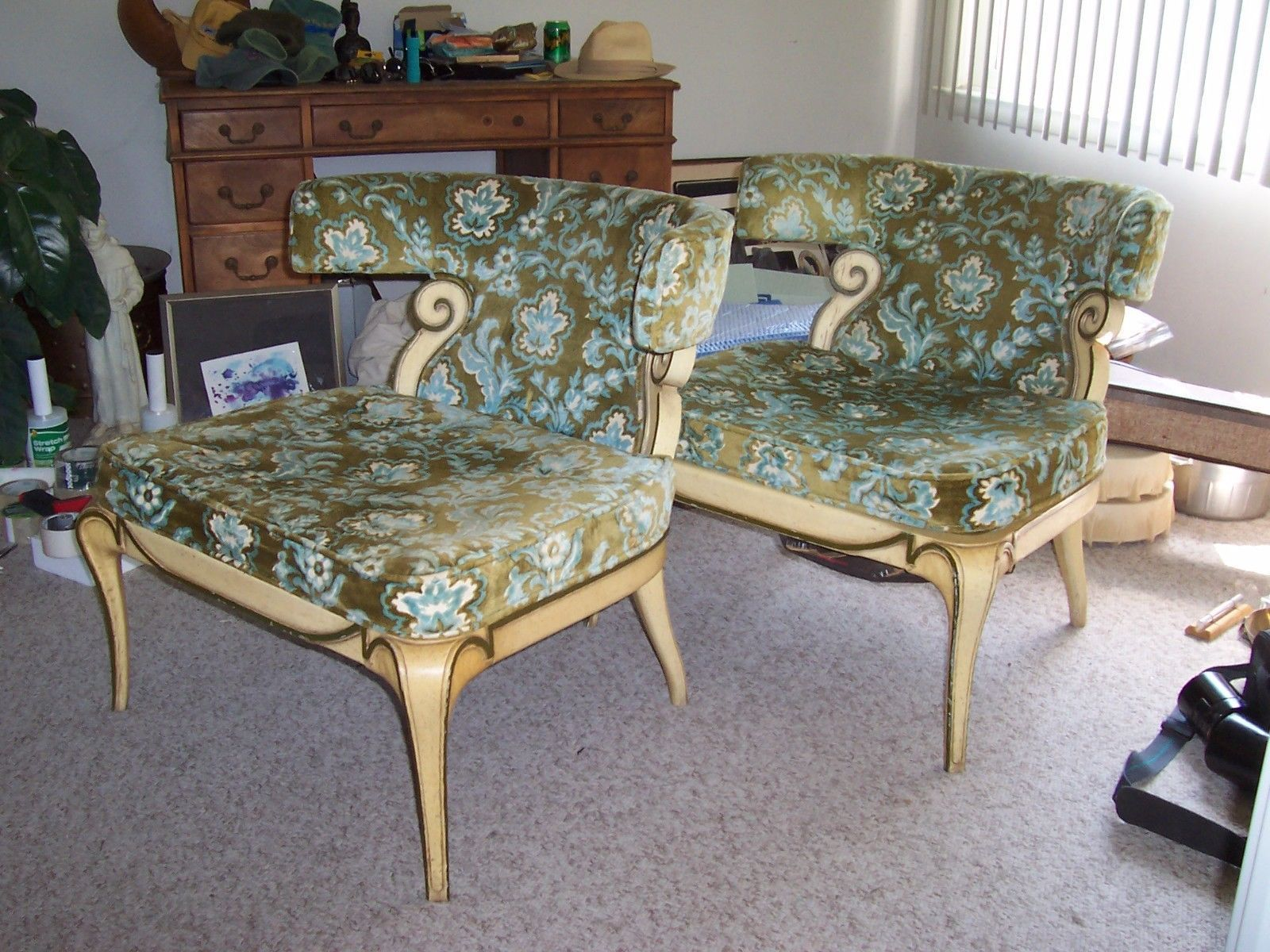 Mid Century Hollywood Regency French Slipper Chairs   eBay