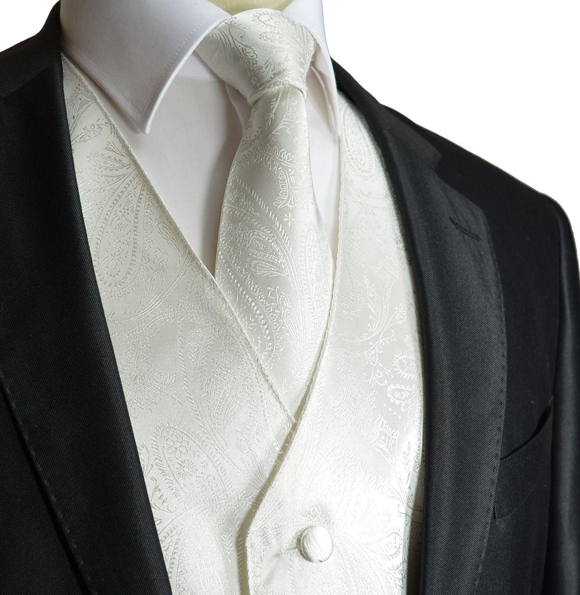 Ivory Paisley Tuxedo Vest with Necktie (V80)