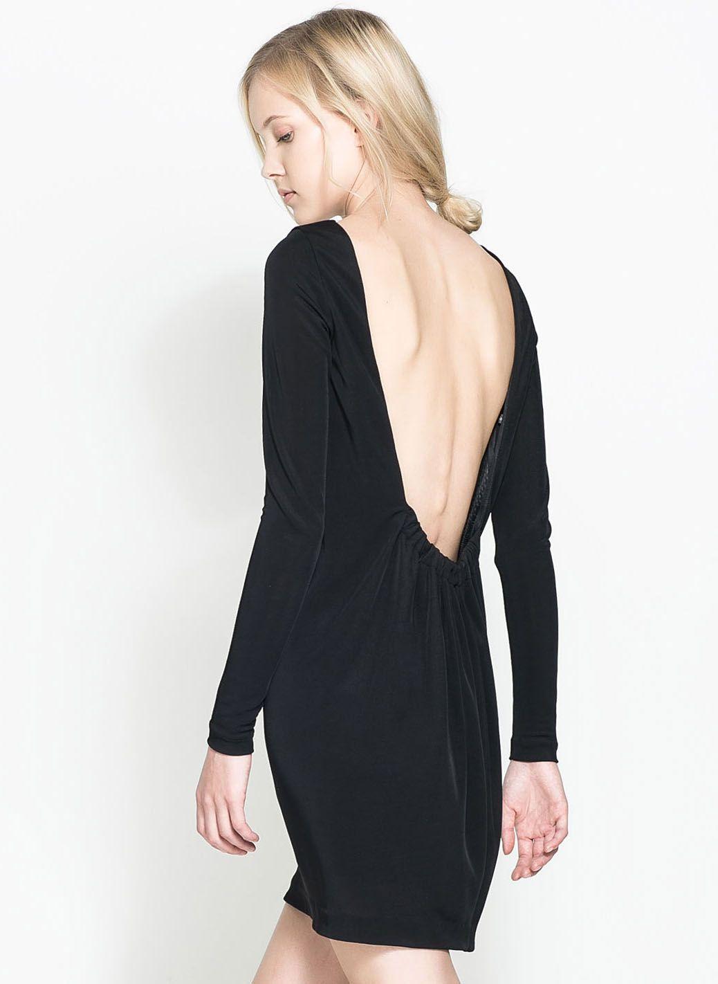 Black long sleeve backless bodycon dress sheinside editing