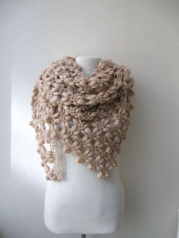 Hand crochet triangle bubble shawl mohair yarn in camel Holidays ...