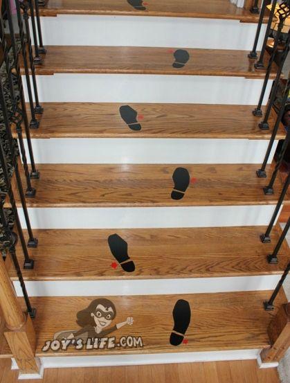 Make a bloody vinyl footprint staircase using the Cricut and Vinyl: http://joyslife.com/bloody-vinyl-shoe-print-staircase-cricut-frightful-affair/