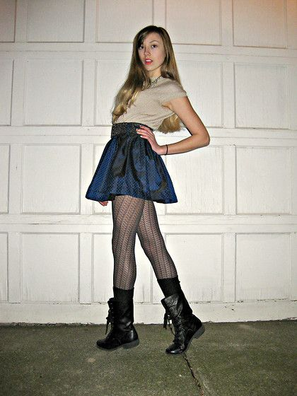 Mia Girl Combat Boots, Thrifted Sweater, Forever 21 Party Skirt ...