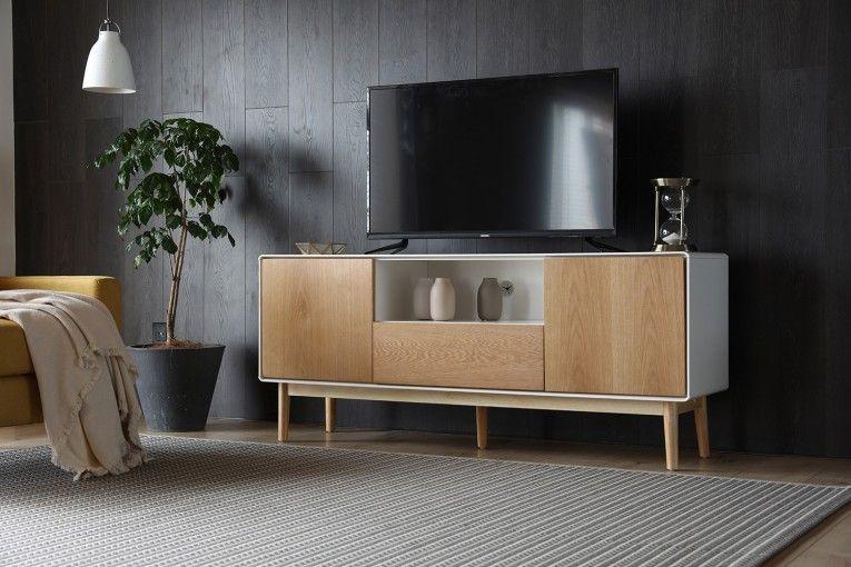 Ivalo Blanc Meuble Tv Blanc Et Bois Naturel Avec Rangements Mobilier De Salon Meuble Tv Blanc Meuble Tv