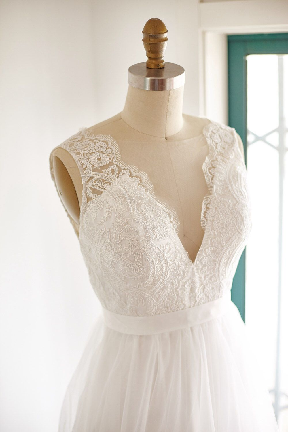 Sheer illusion lace tulle beach boho wedding dress bridal gown by