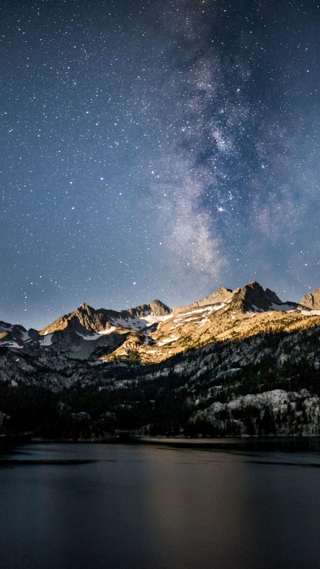 Mountains, night, milky way, Eastern Sierras,