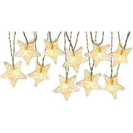 Gemmy 8 53 Ft Gold Mini Bulb Metal Stars Patio String Lights