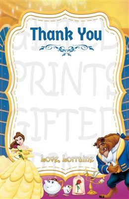 Beauty and the Beast Thank You Card Beauty and the Beast Thank You Note Belle Printable. Belle Digital Thank You Card