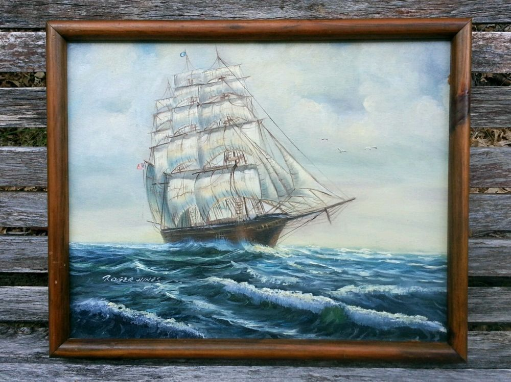 VINTAGE 21x17' CLIPPER SHIP SEASCAPE OIL PAINTING ~ FRAMED SIGNED Roger Hines #Realism