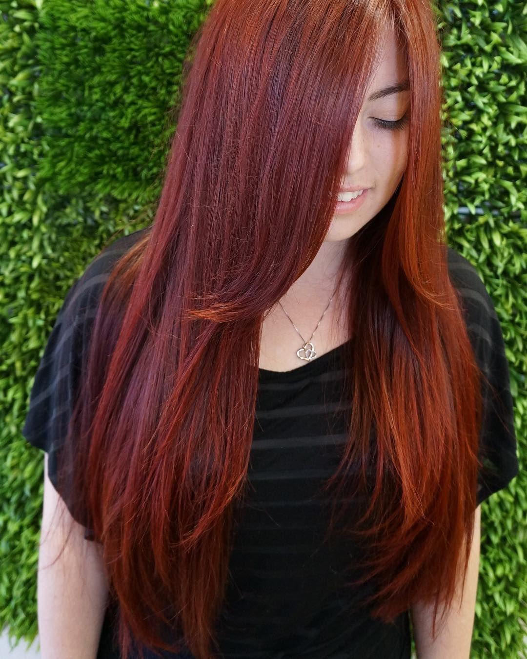 Red Hot Hairbyracheal Redhairdontcare Redhair Redkenobsessed Redkencreamshades Redken Red Fiery Red Hair Red Hair Don T Care Long Hair Styles