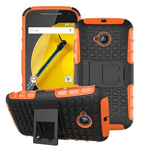Motorola Moto E2 (Moto E 2nd Gen) Case Cover Accessories - Tough Rugged Dual Layer Protective Case with Kickstand for Motorola Moto E (2nd Gen. 3G / 4G LTE) (2015 Released) (Armor-Orange)