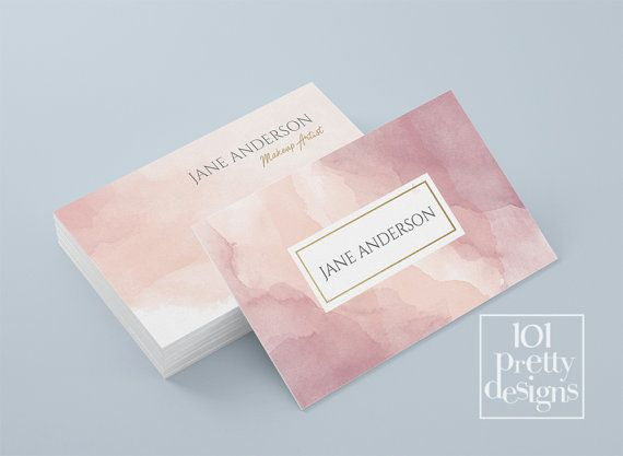 Watercolor Business Card Template Pastel Printable Business