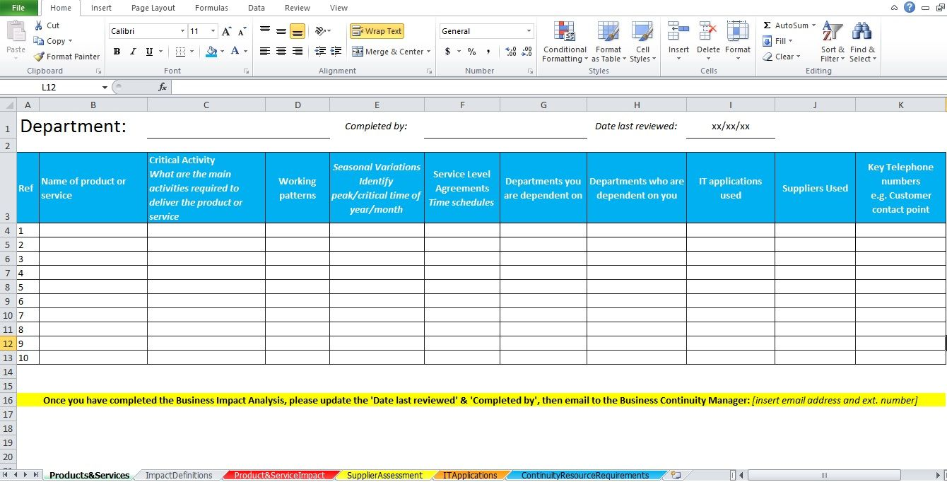 Business Impact Analysis Template Excel Excel Tmp Business Impact Business Analysis Analysis Voice of the customer template