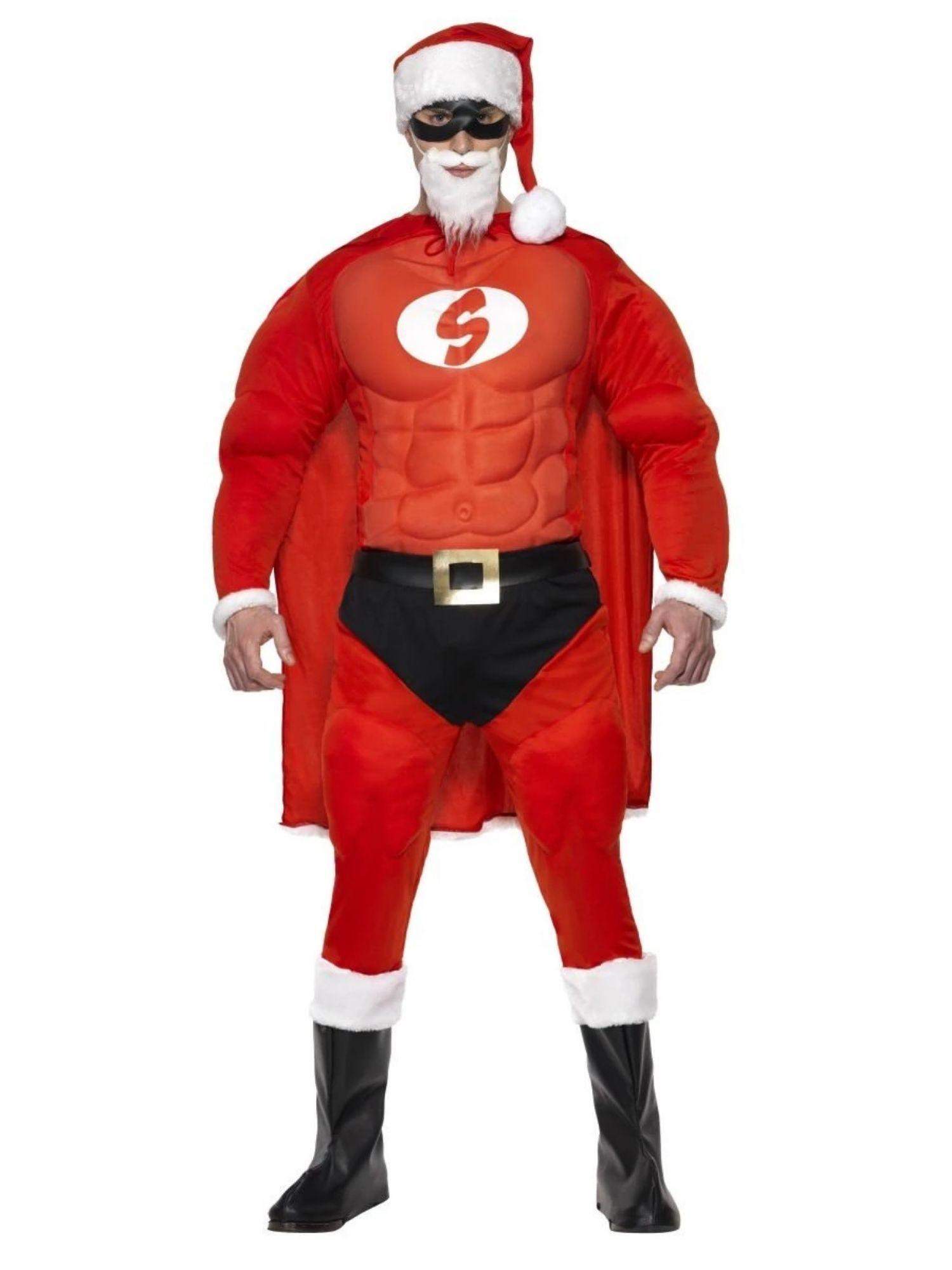 49″ Red and White Super Fit Santa Men Adult Christmas Costume – Medium – 33485384