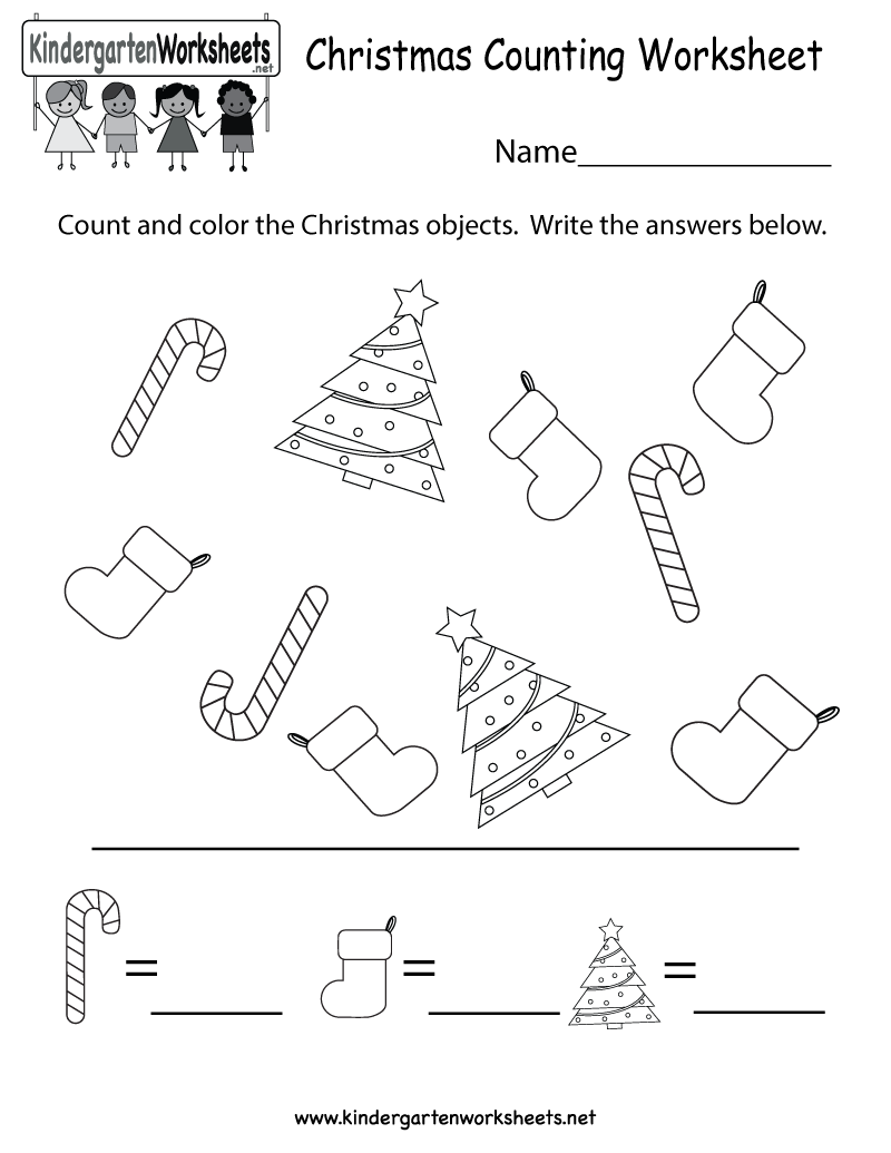 Kindergarten Christmas Counting Worksheet Printable | Educational ...