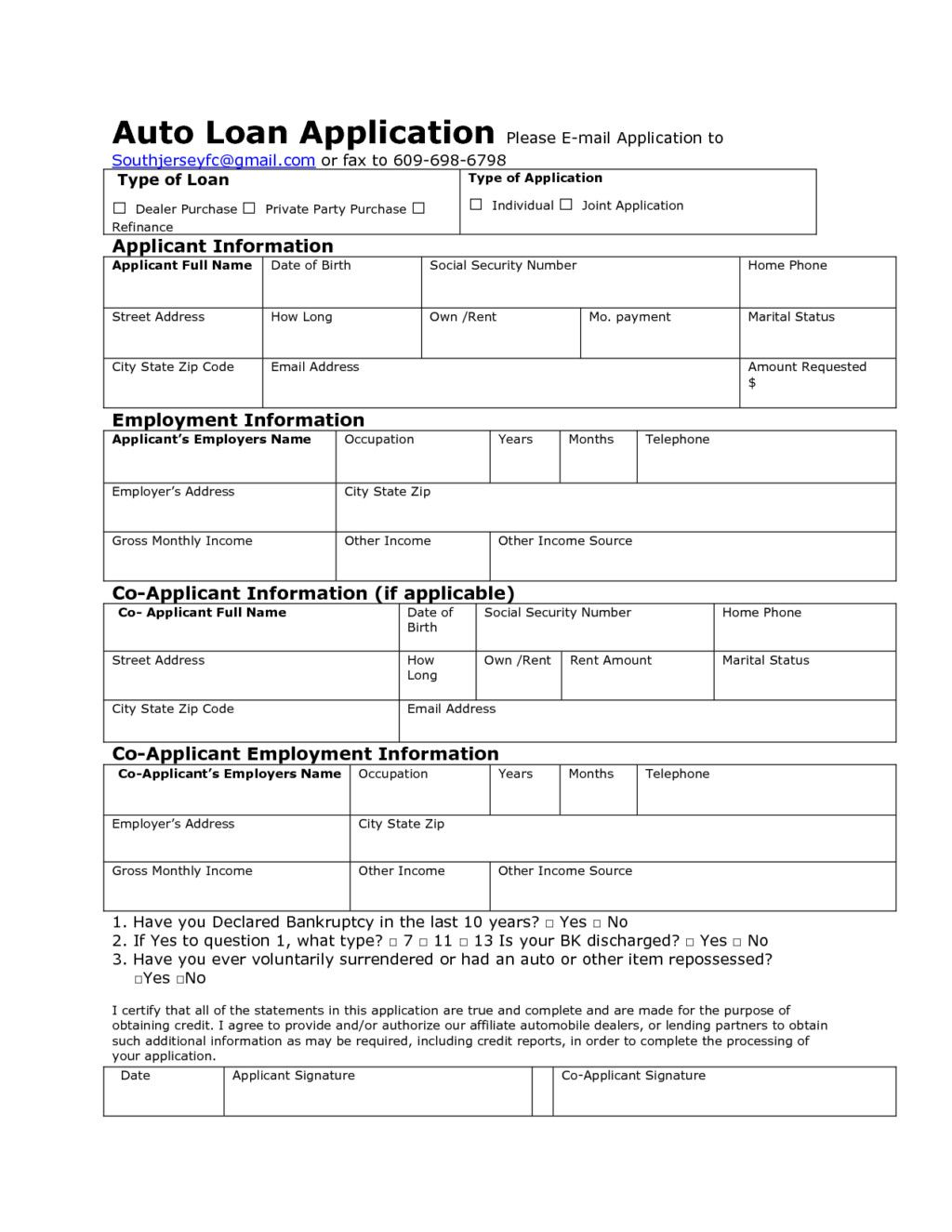 Car Loan Application form Template Luxury Auto Credit
