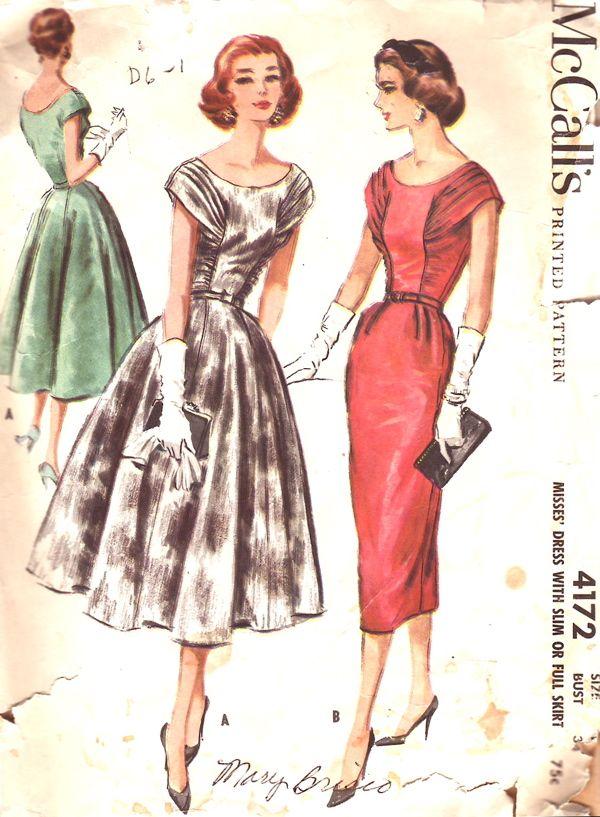 McCalls 4172 Evening Dress Patterns1950s FashionVintage