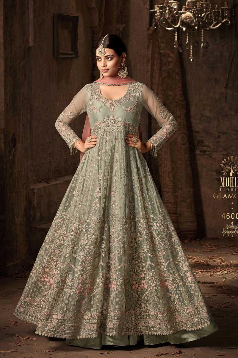 031f2c7cf2 Green-U-Neck-Net-Heavy-Embroidered-Long-Sleeve-Floor-Touch-Wedding-Wear- Anarkali-Suit-46003-14490 Catalog No : 4307 WWW.LKFABKART.