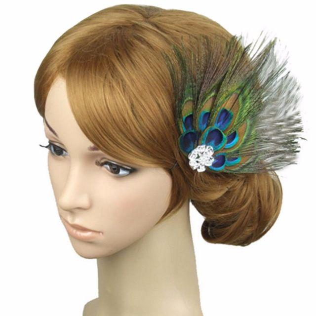Beauty Vrouwen Pauwenveer Fonkelende Steentjes Haarspeldjes Bruids Haarstukje Dame Haaraccessoires