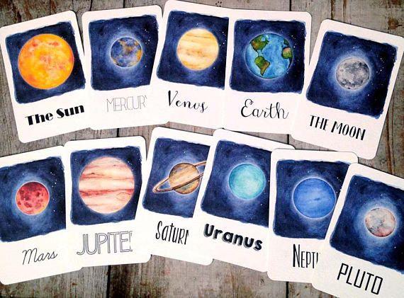 Solar System Flash Cards Homeschool Educational Classroom ...