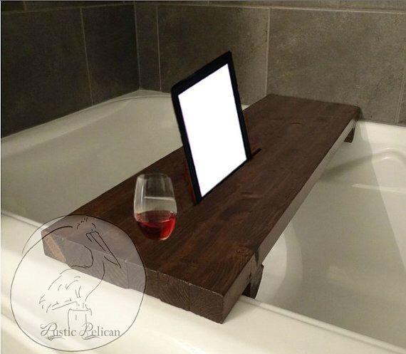 Rustic Bathtub Caddy -IPad -Wood Bathtub Tray -Bath shelf -reclaimed ...