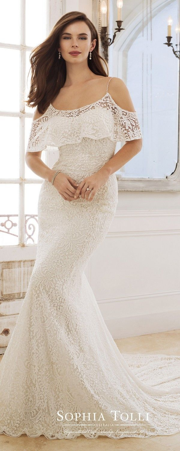 Lace button up wedding dress november 2018 Sophia Tolli ruffled neckline lace wedding dress  collection