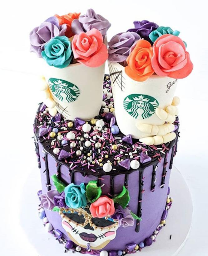 Sugar Skull Cake #starbuckscake Sugar Skull Starbucks Cake made with Satin Ice | Cupcakes N Studs #starbuckscake