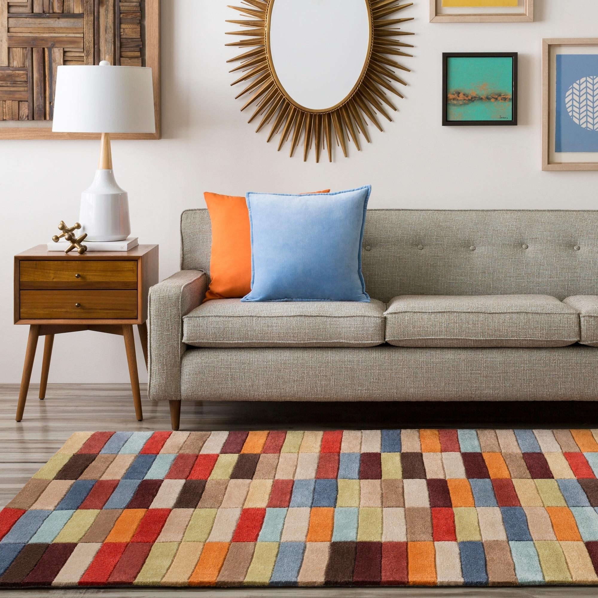 Hand tufted troy multicolor geometric area rug 9 x 13 9 x 13 bronze