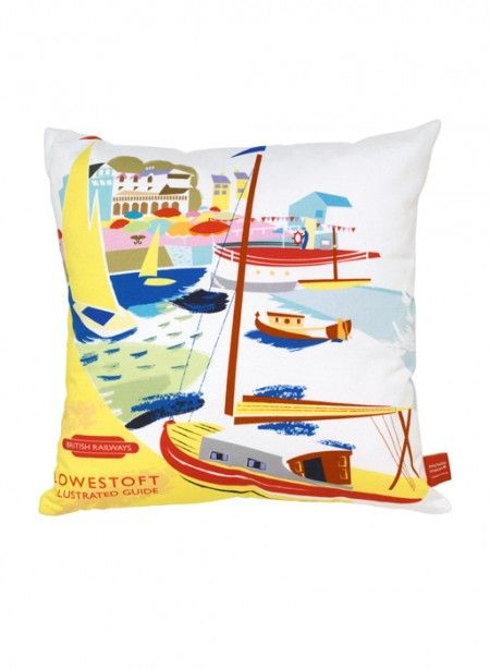 Lowestoft Cushion with boats by Michelle Mason.  Printed cusion with seaside graphics showing beautiful boats of all colours made by Michelle Mason.  Here is the cushion Lowestoft which will bring colour to your interior this summer. #thecollection