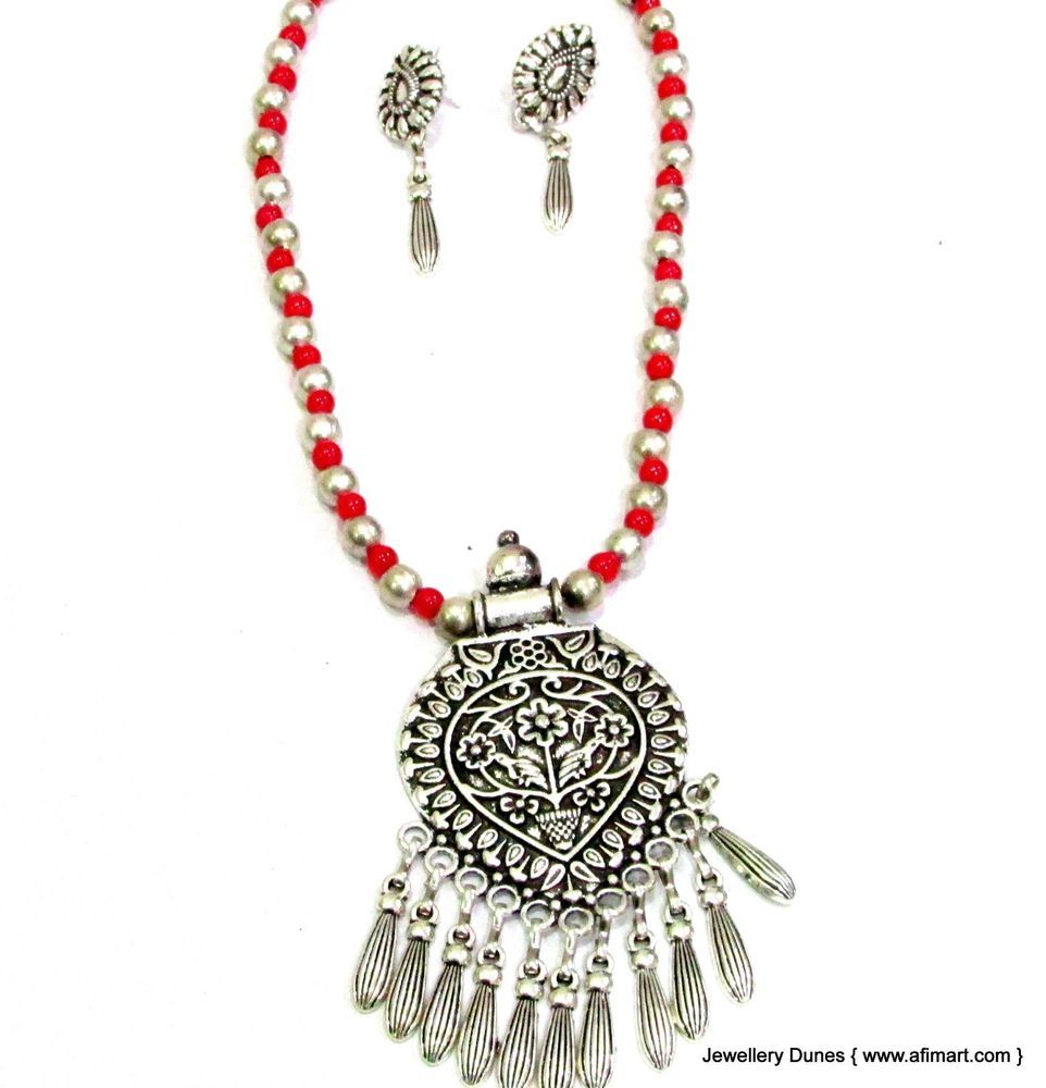 Red pearl tribal necklace set with earrings indian ethnic jewelry