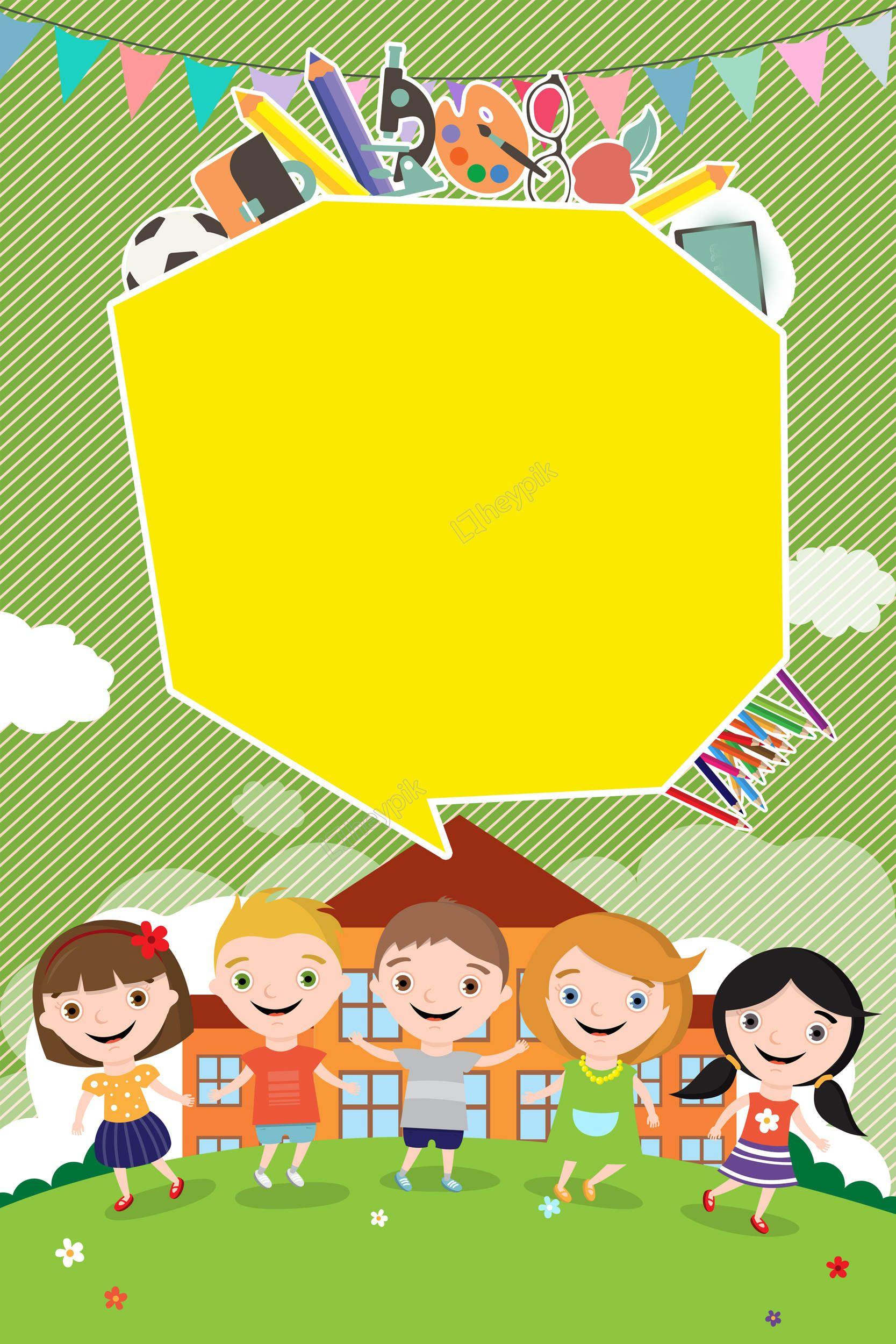 Baground Anak Anak : baground, Kindergarten, Enrollment, Nursery, School, Admissions, Flyer, Green, Cartoon, Hand-painted, Background, Vector, Kartun,, Ilustrasi, Karakter,