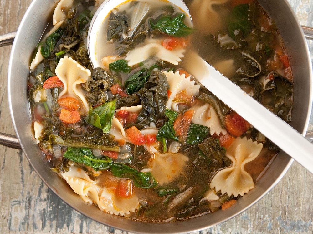 Recipe: Hearty Greens Soup with Bowtie Pasta and Tomatoes