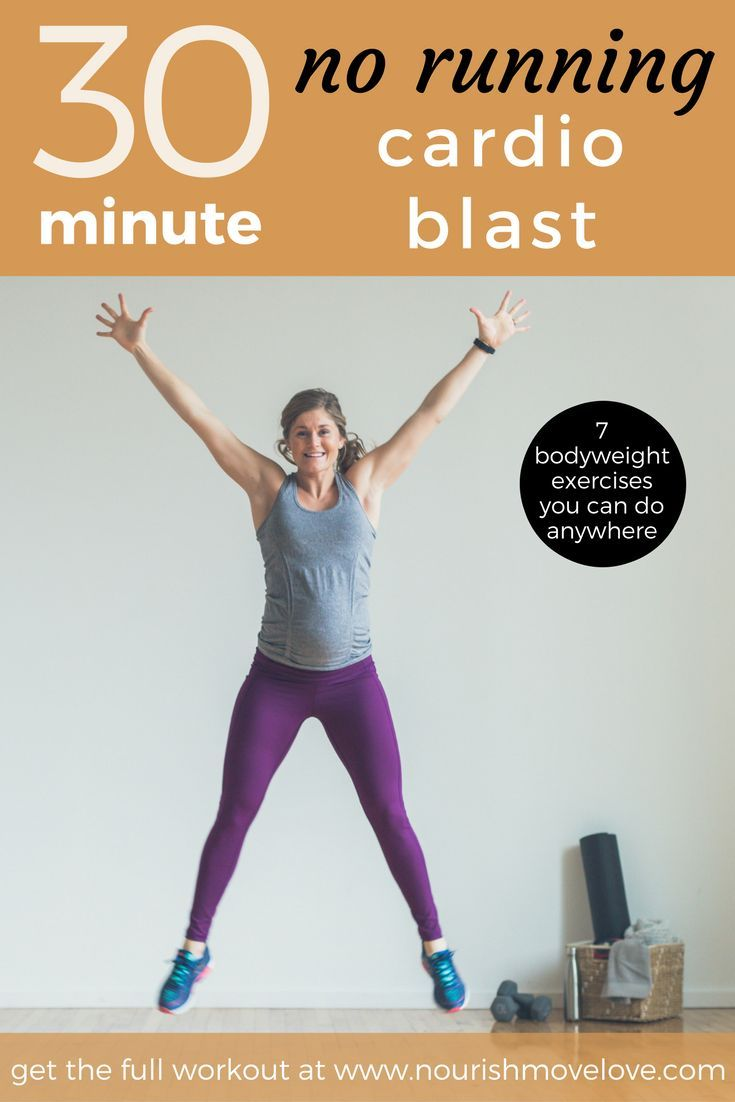 30-Minute, No Running Cardio Workout -- a great bodyweight workout you can do anywhere! This home wo...