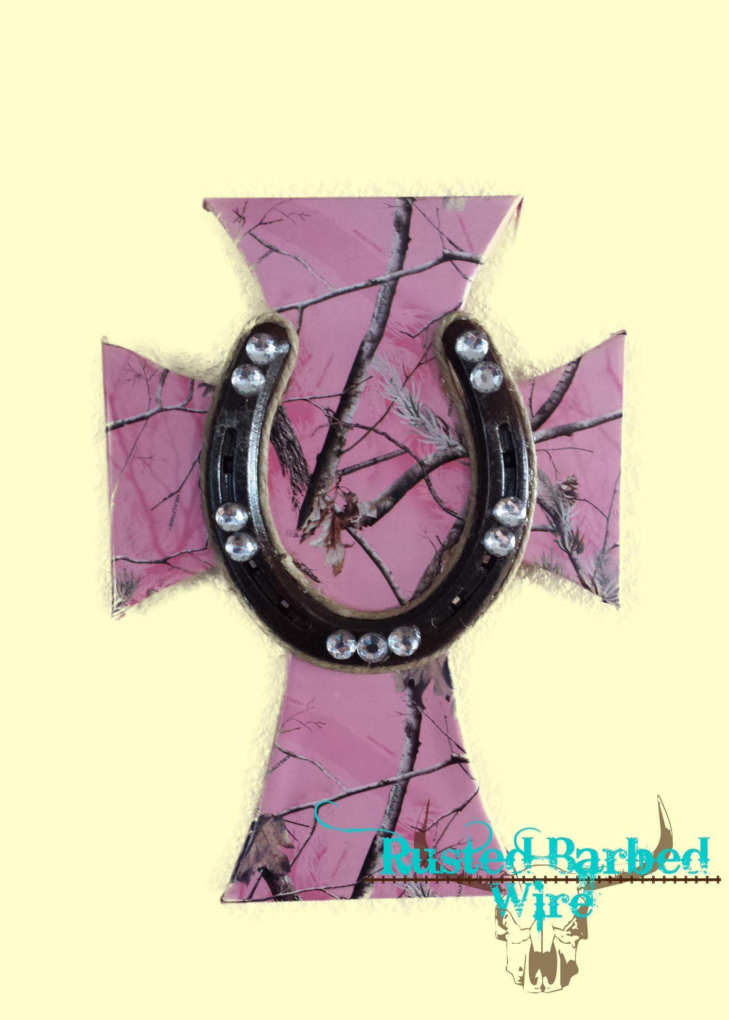 Western Rustic Pink Camo Horseshoe Bling Rope Custom Wall Art Cross ...
