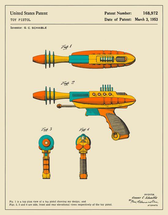 Poster RAY GUN (1953) von Jazzberry Blue Jazzberry Blue - new blueprint gun art
