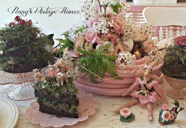 Pennys Vintage Treasures Mud Pie and Pink Garden Hose Spring Tablescape