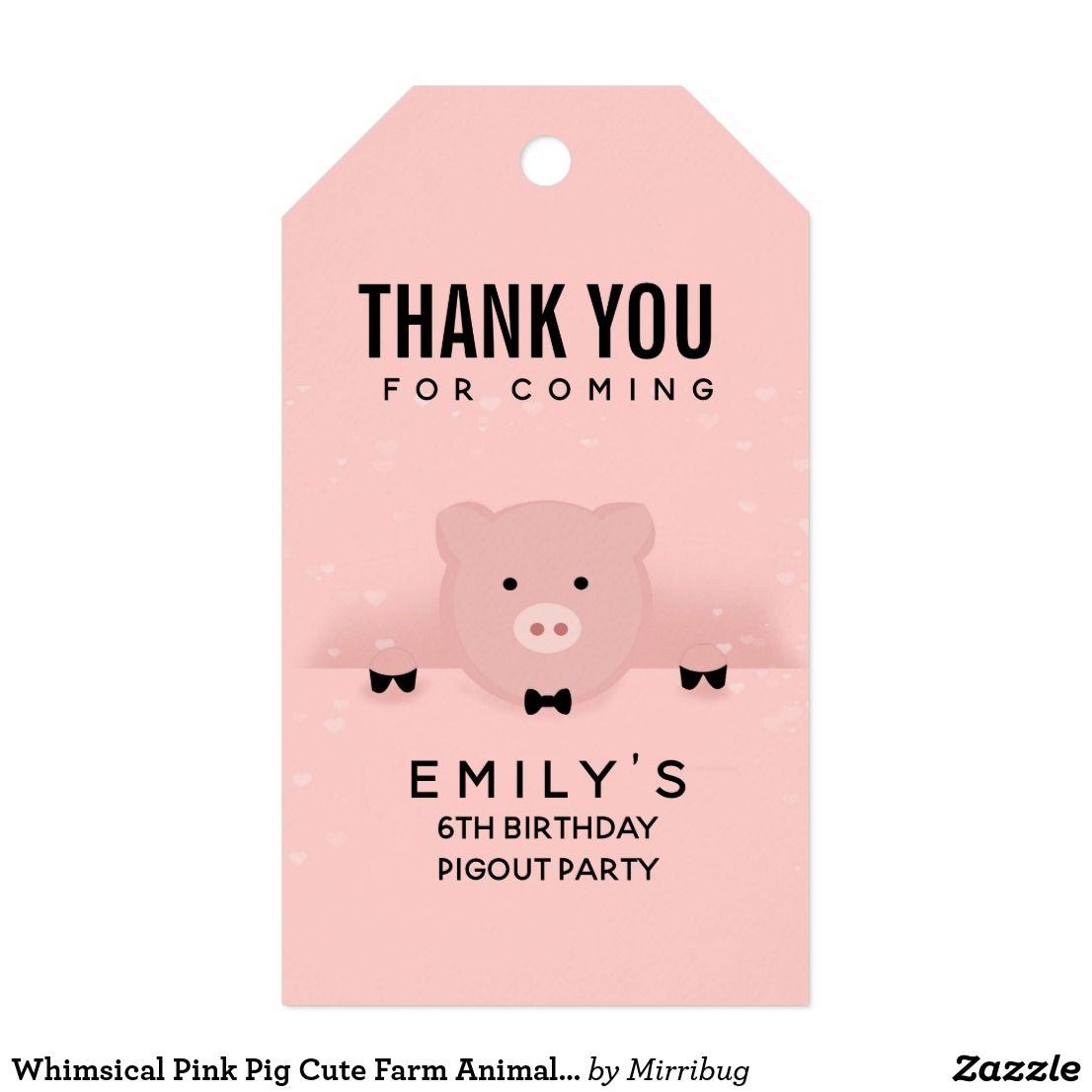 Whimsical Pink Pig Cute Farm Animal Birthday Gift Tags ...