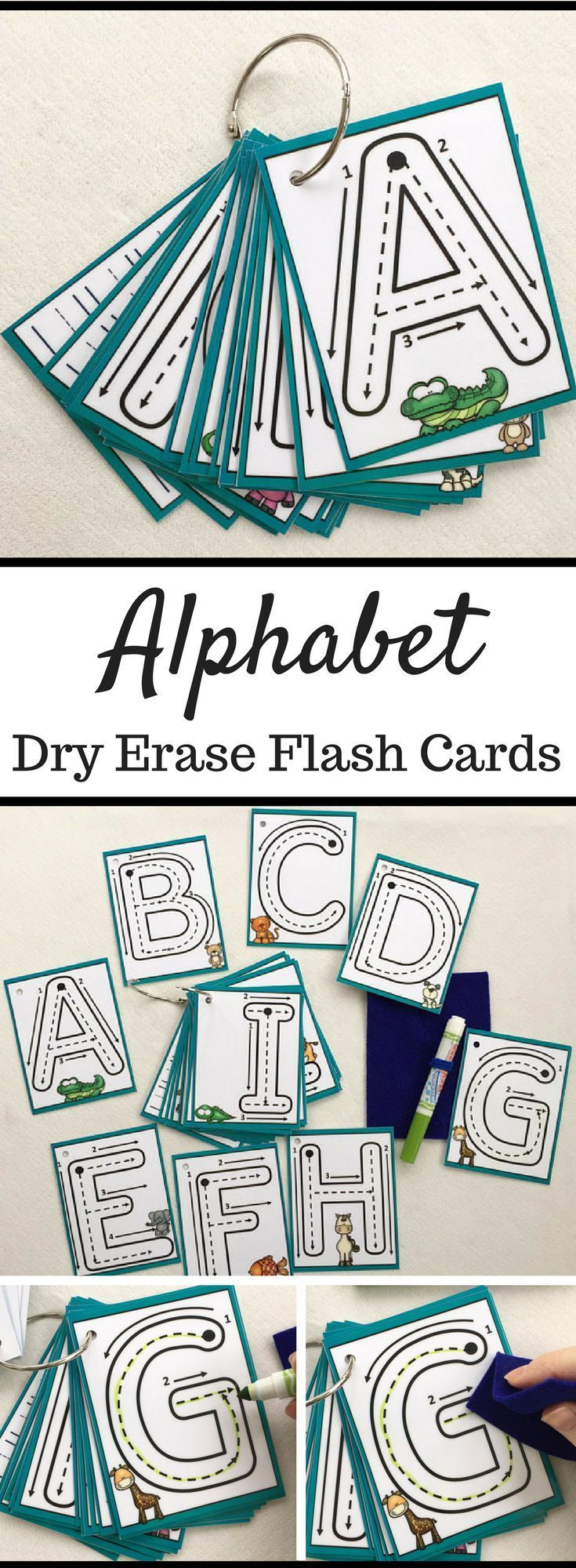 Alphabet Flash Cards | Dry Erase Alphabet Cards | Trace and Learn to ...
